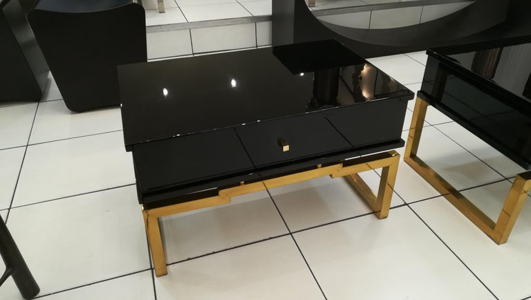 Pair of Bedsides or End Tables in Lacquered Wood, circa 1970 For Sale 4