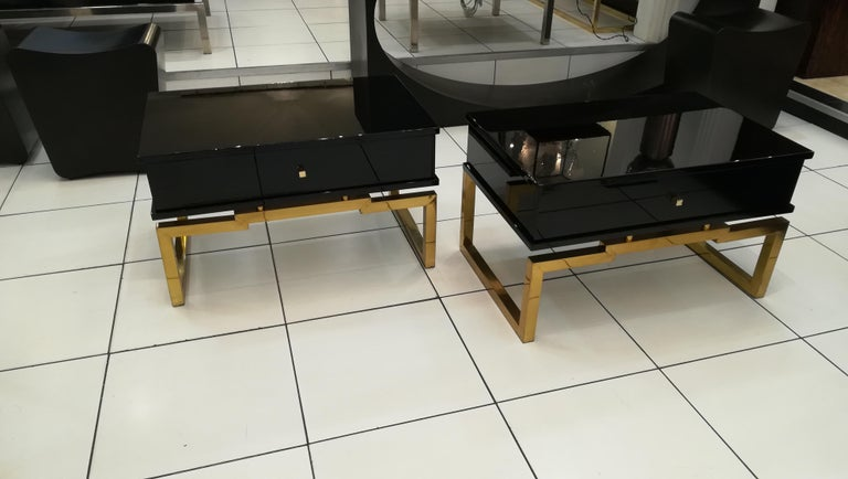 Late 20th Century Pair of Bedsides or End Tables in Lacquered Wood, circa 1970 For Sale