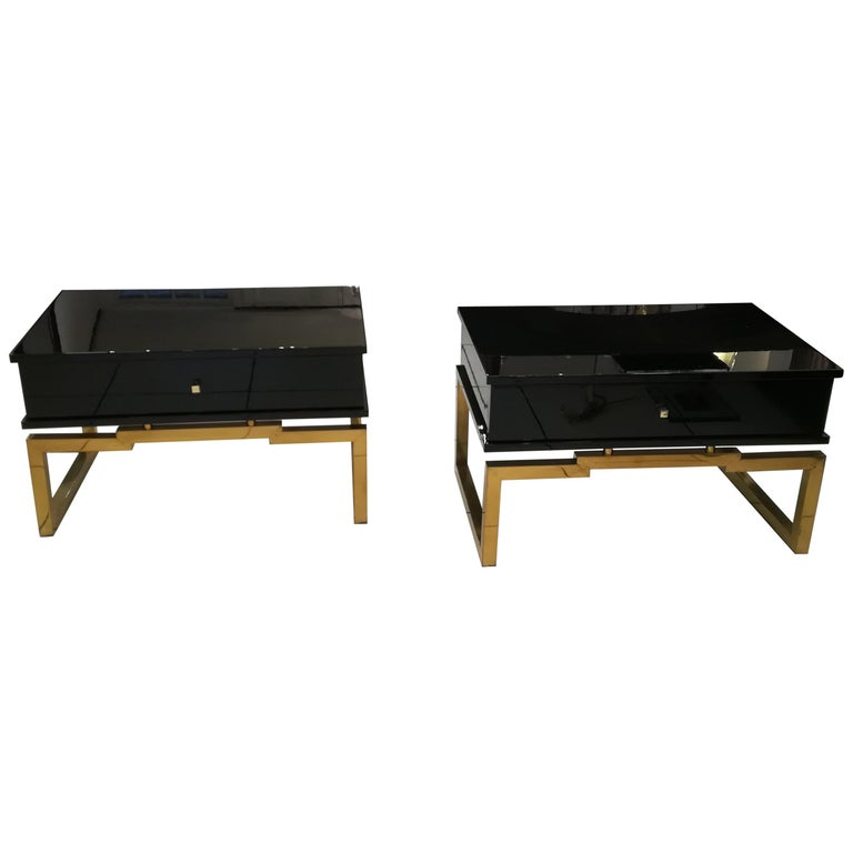 Pair of Bedsides or End Tables in Lacquered Wood, circa 1970 For Sale