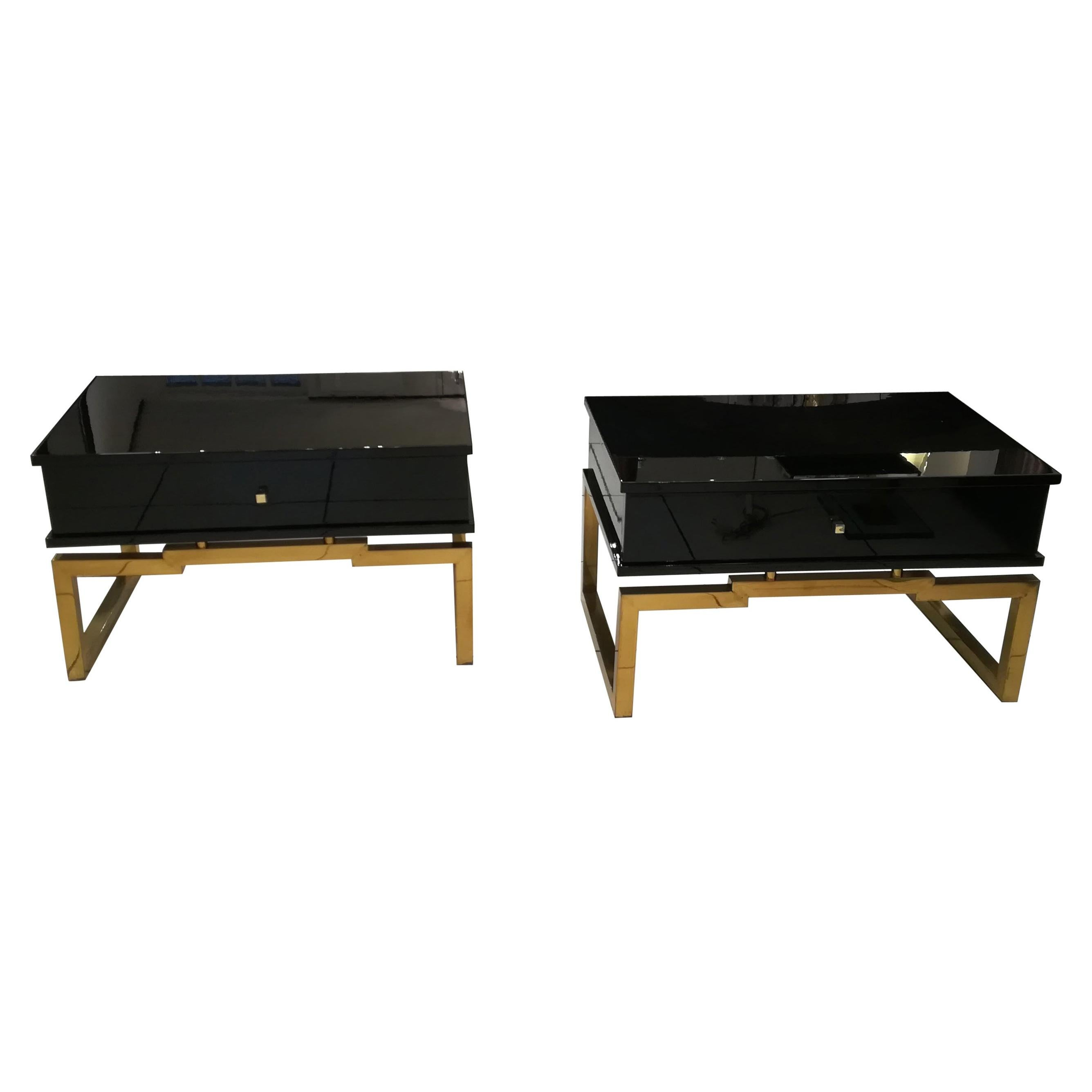 Pair of Bedsides or End Tables in Lacquered Wood, circa 1970