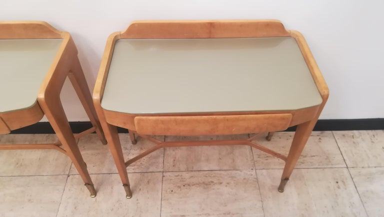 Glass Pair of Bedsides or End Tables in Wood, circa 1950 For Sale