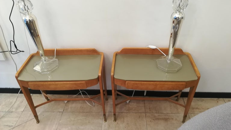 Pair of Bedsides or End Tables in Wood, circa 1950 For Sale 2