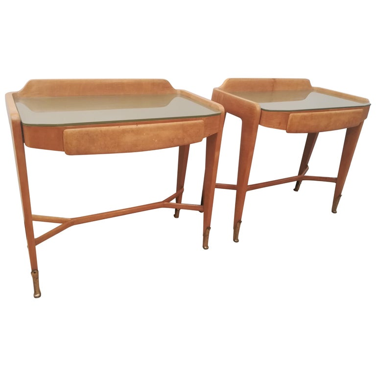 Pair of Bedsides or End Tables in Wood, circa 1950 For Sale