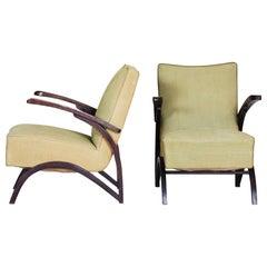 Pair of Beech Art Deco Armchairs by Jindrich Halabala, 1930s, Original Condition