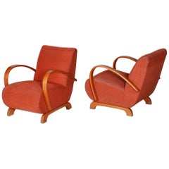Pair of Beech Art Deco Armchairs by Jindrich Halabala, 1930s, Original Condition