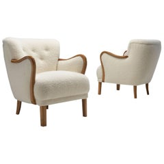 Pair of Beech Easy Chairs with Curved Armrests, Denmark, 1940s