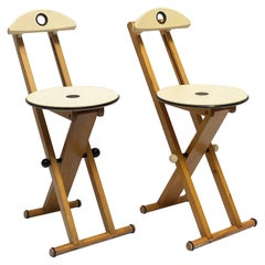 Pair of Beech Folding Chairs, Italy, 1980s