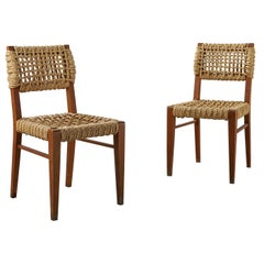 Pair of Beech & Woven Rope Dining Chairs by Adrien Audoux and Frida Minet, 1950s