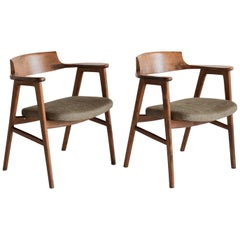 Pair of Beechwood Armchairs by Fornasarig, Italy, circa 1960