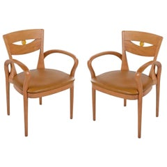 Pair of Beechwood Neo Deco Armchairs with Arched Arms and New Leather Seats