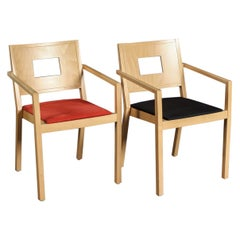 Pair of Beechwood Stacking Chairs by Brunner