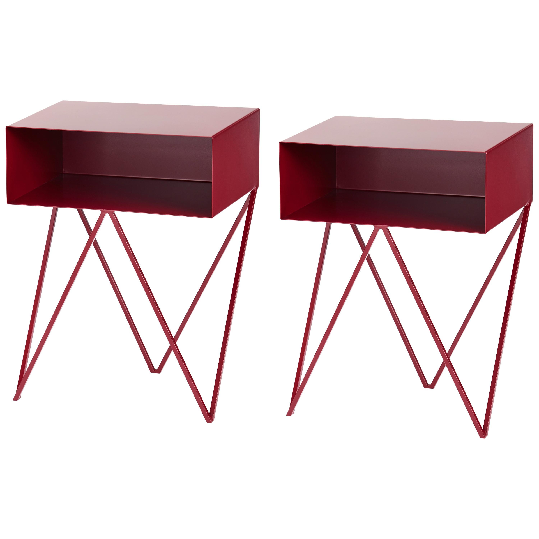 Pair of Burgundy Powder-Coated Steel Robot Bedside Tables