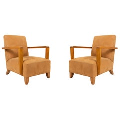 Pair of Tan French Modernist Oak Armchairs