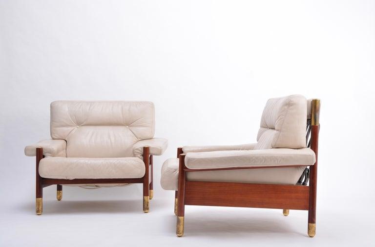 Italian Pair of Beige Mid-Century Modern Lounge Chairs Model