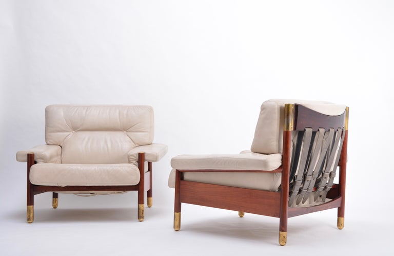 Pair of Beige Mid-Century Modern Lounge Chairs Model
