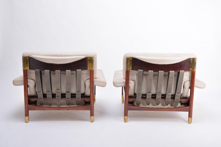 Brass Pair of Beige Mid-Century Modern Lounge Chairs Model