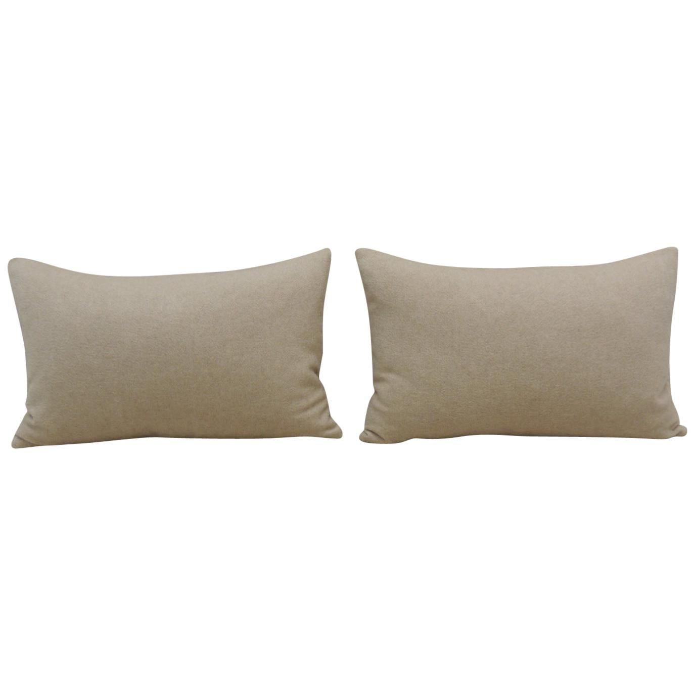 Pair of Beige Tone-on-Tone Loro Piana Cashmere Decorative Lumbar Pillows