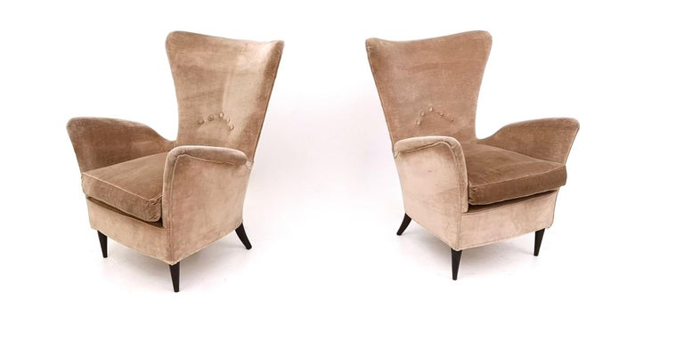 Italian Pair of Beige Velvet Armchairs Ascribable to Gio Ponti for Hotel Bristol