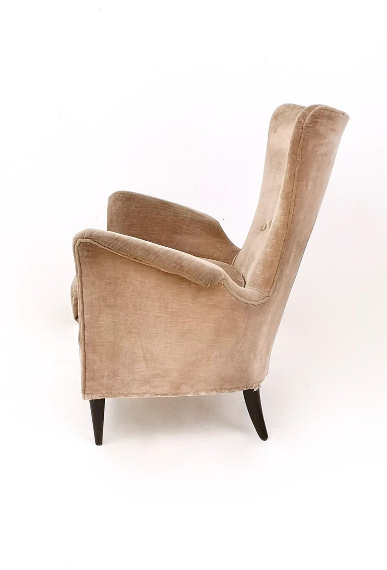Pair of Beige Velvet Armchairs Ascribable to Gio Ponti for Hotel Bristol