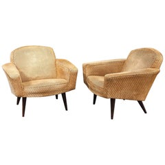 Pair of Beige Velvet Armchairs, circa 1950