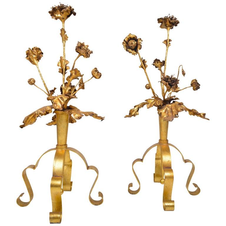 Pair of Belgian Decorative Flower Centerpieces, circa 1940 For Sale