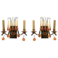 Pair of Belgian Glass and Brass Sconces