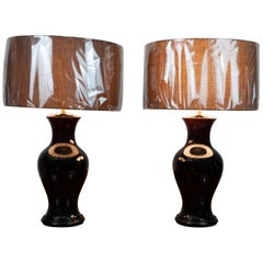 Pair of Belgium Brown Glazed Ceramic Lamps Including Brown Shades