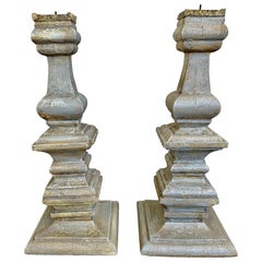 Pair of Italian Painted Wood Candlesticks, circa 1920s