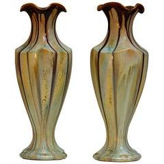 Pair of Belgium Pottery Vases