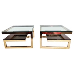 Pair of Belgochrom 23-Karat Coffee Tables, 1970s