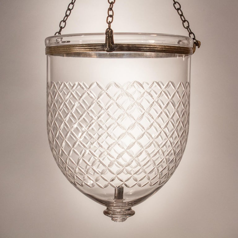 Pair of Bell Jar Lanterns with Diamond Etching For Sale 3