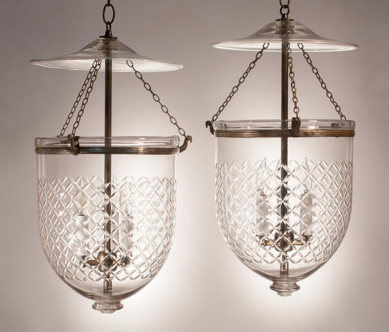 High Victorian Pair of Bell Jar Lanterns with Diamond Etching For Sale