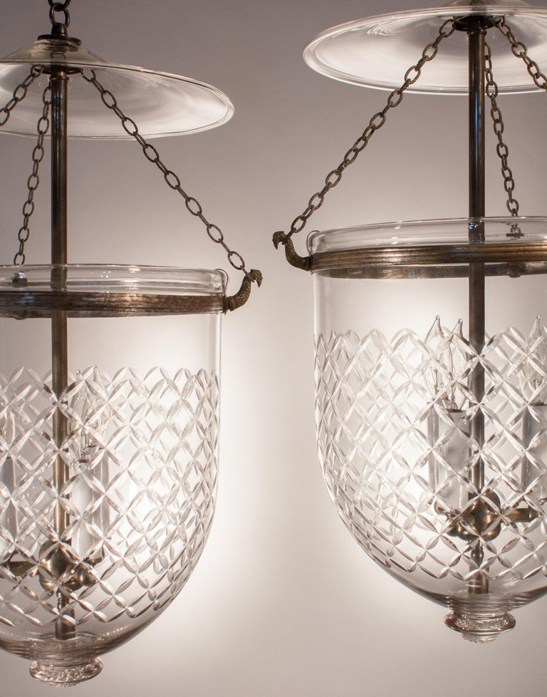 English Pair of Bell Jar Lanterns with Diamond Etching For Sale
