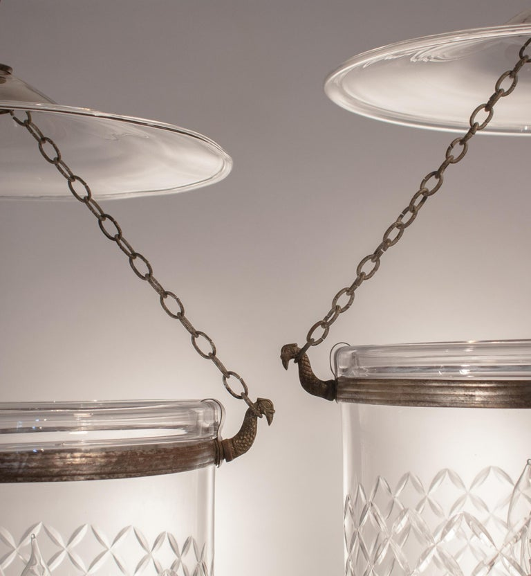 Etched Pair of Bell Jar Lanterns with Diamond Etching For Sale