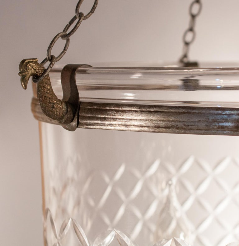 19th Century Pair of Bell Jar Lanterns with Diamond Etching For Sale