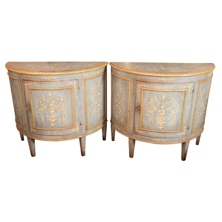 Pair of Belle Epoch Painted Demilune Buffets For Sale