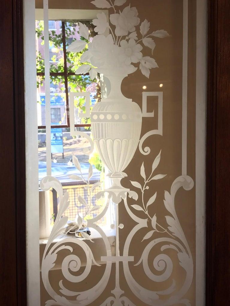 Pair of Belle Époque French Acid Etched Bistro Doors & Transom, Paris For Sale 11