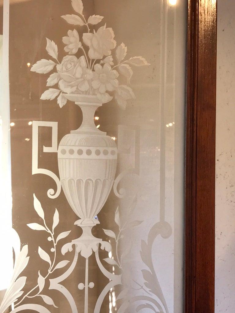 Pair of Belle Époque French Acid Etched Bistro Doors & Transom, Paris For Sale 12