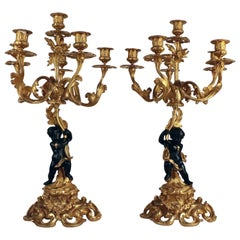Pair of Belle Époque Gilt Bronze Figural Six Light Candelabra