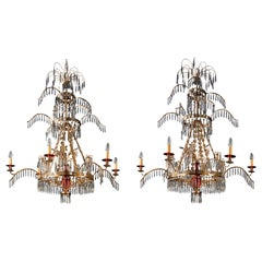 Pair of Belle Epoque Russian Style Ormolu Red and Cut-Glass Six-Light Chandelier