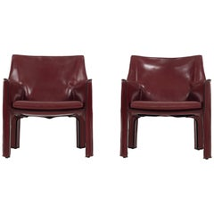 Pair of Bellini Cab Chairs in Oxblood Leather