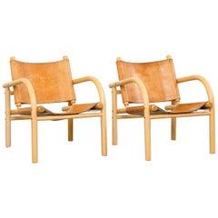 Pair of Ben af Schultén Model 411 Safari Lounge Chairs, Artek, Finland, 1974