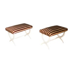 Pair of Bench Midcentury Gio Ponti and Tomaso Buzzi in Hardwood, 1930s-1940s