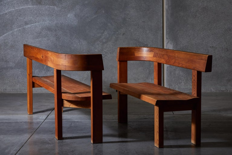 Pair of elm S35 modular benches by Pierre Chapo. Made in France circa 1960s.