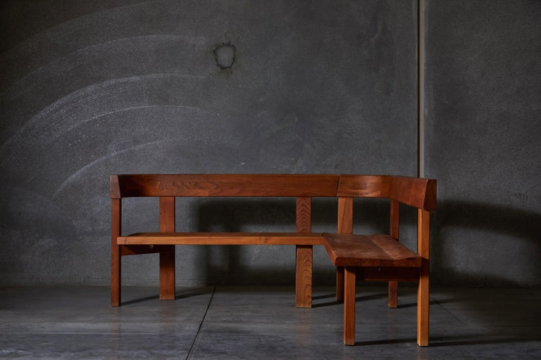 French Pair of Benches by Pierre Chapo For Sale