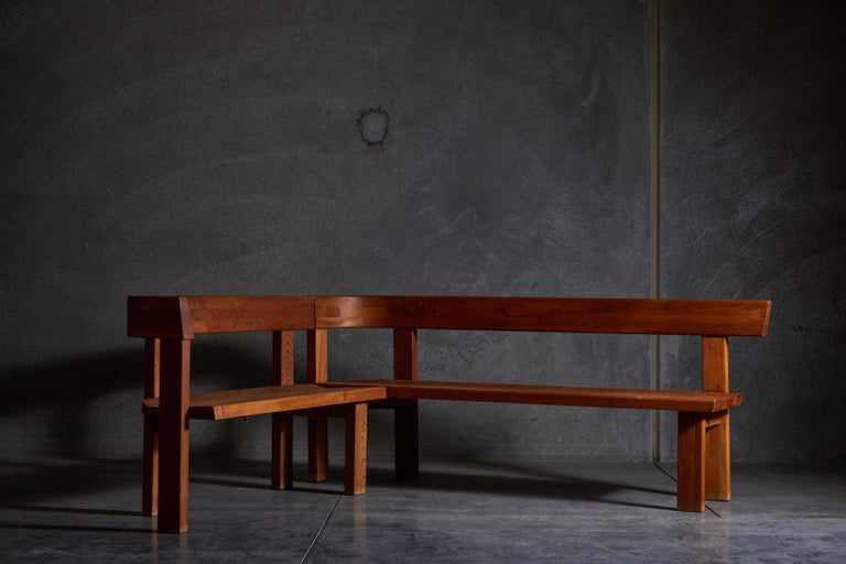 Elm Pair of Benches by Pierre Chapo For Sale