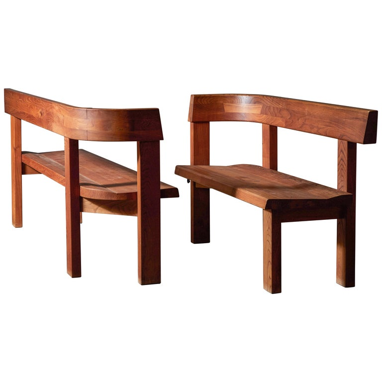 Pair of Benches by Pierre Chapo For Sale