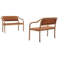 Pair of Benches by Ton in Bentwood