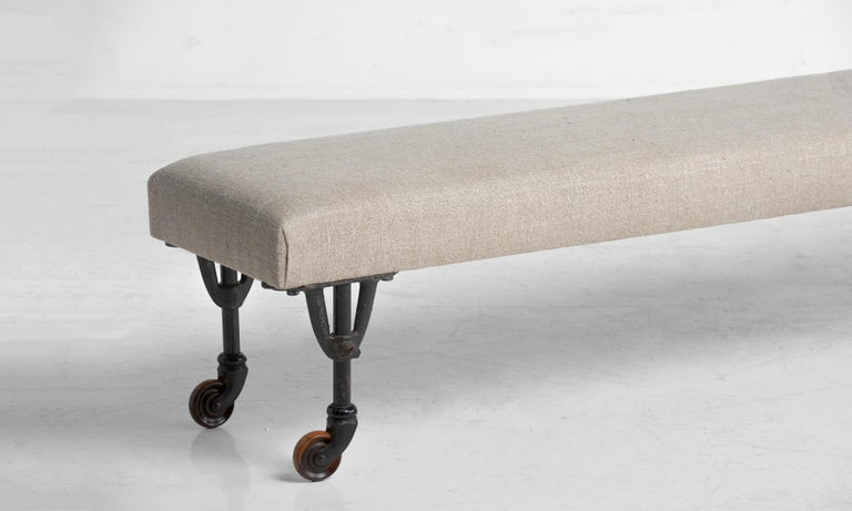 Mid-20th Century Pair of Benches in Russian Linen, circa 1930 For Sale