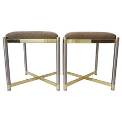 Pair of Benches in Stainless Steel and Brass Attributed to Maison Jansen